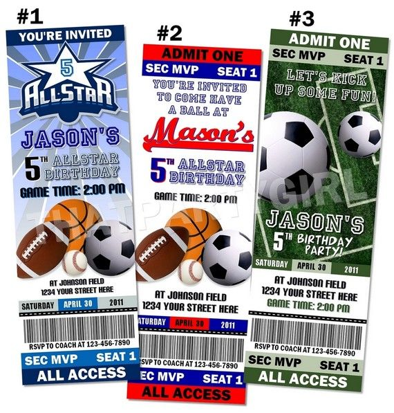 Sports Birthday Party Ticket Style Invitations Favors MVP