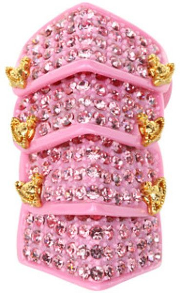 Womens Pink Resin Pave Armour Ring Armor ring Vivienne westwood
