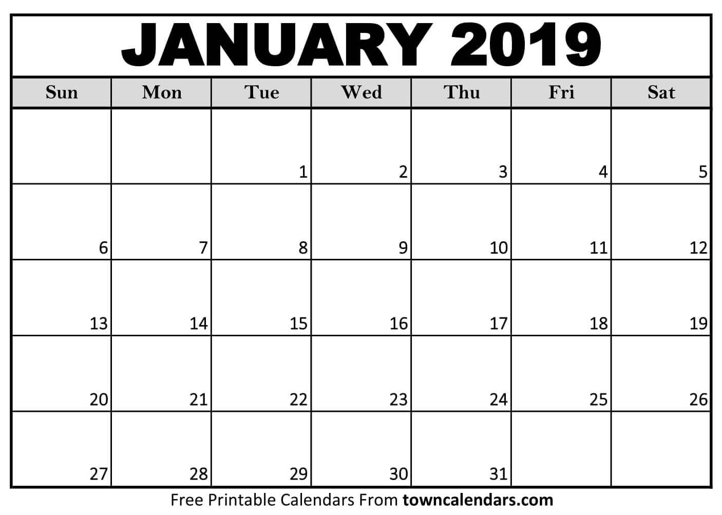 2019 January Calendar Printable Monthly Template Calendar