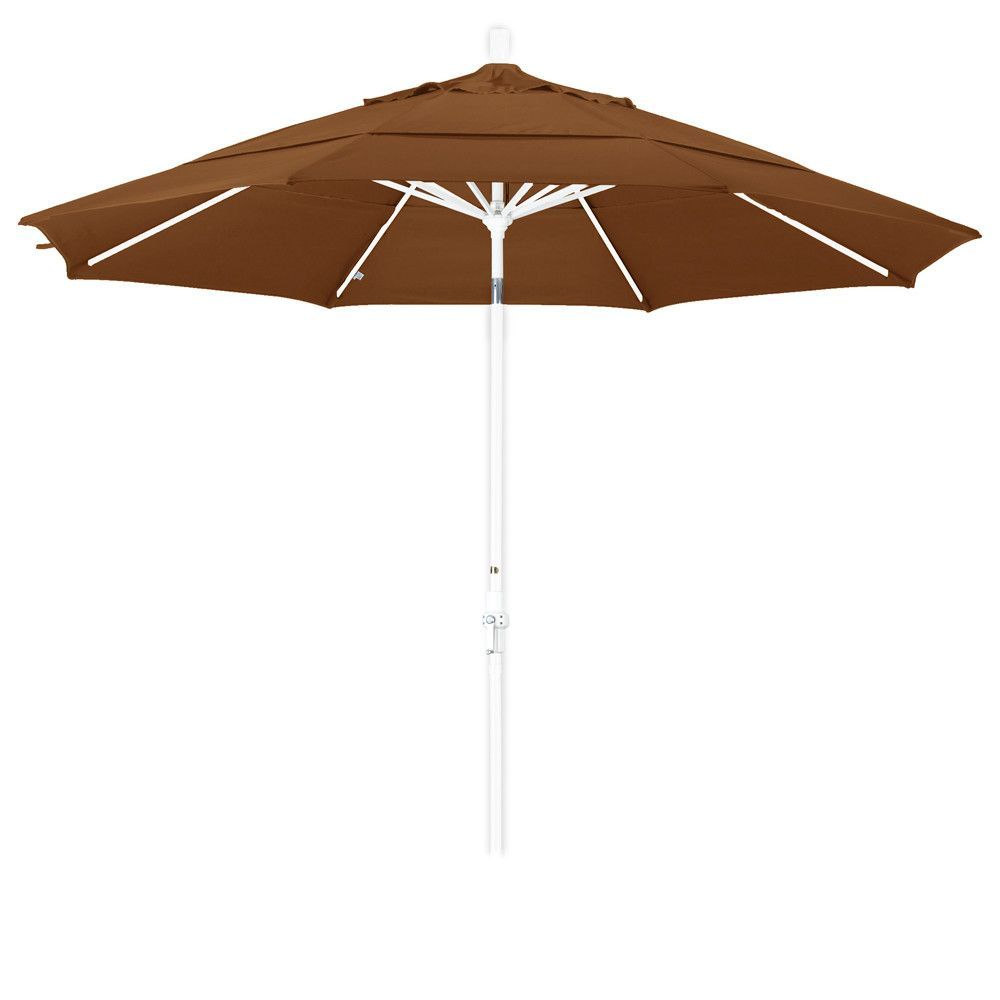 Eclipse Collection 11' Aluminum Market Umbrella Collar Tilt Matted White/Olefin/Teak/DWV