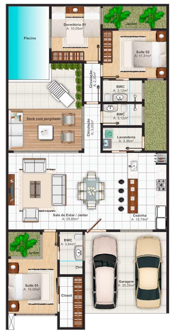 planos de casas grandes de dos pisos con piscina