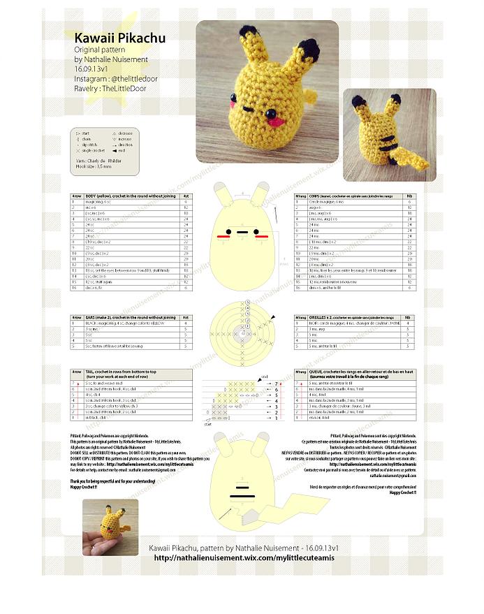 Amigurumi Pikachu pattern. Amigurumi Pokemon pattern. Crochet ... | 879x693