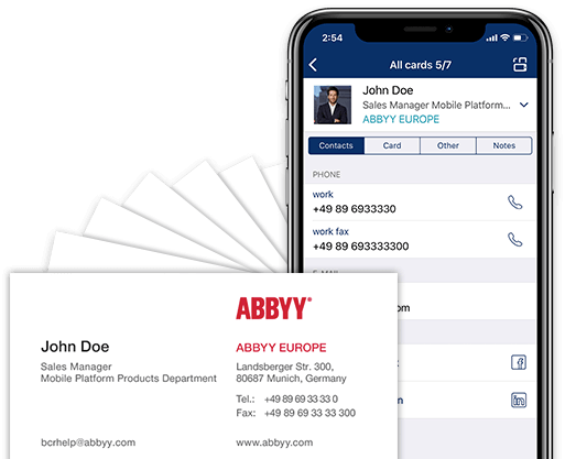 Business Card Scanner And Contact Manager For Iphone And Android Business Card Reader App By Abbyy Business Card Scanner Digital Business Card Card Reader