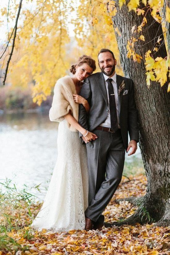 Fall wedding Photography, fur bridal cover-up, full length wedding dresses #2014 Valentines Day www.dreamyweddingideas.com