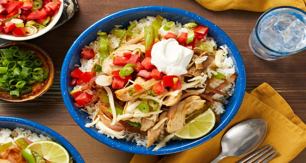 pulled chicken rice bowls with tomato salsa and monterey jack cheese recipe rice bowls recipes hello fresh recipes chicken rice bowls pinterest