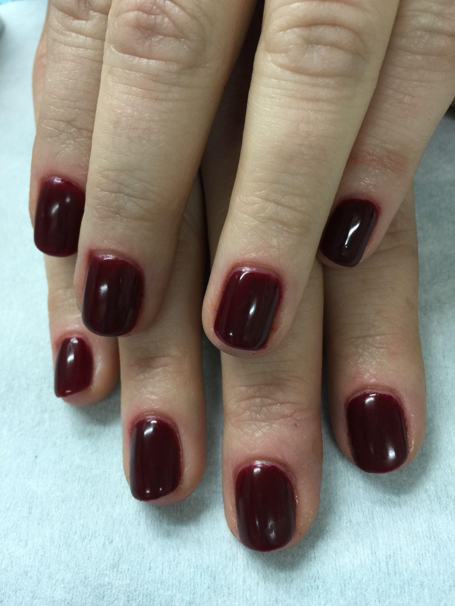 Fall burgundy wine gel polish over non-toxic odorless hard gel ...