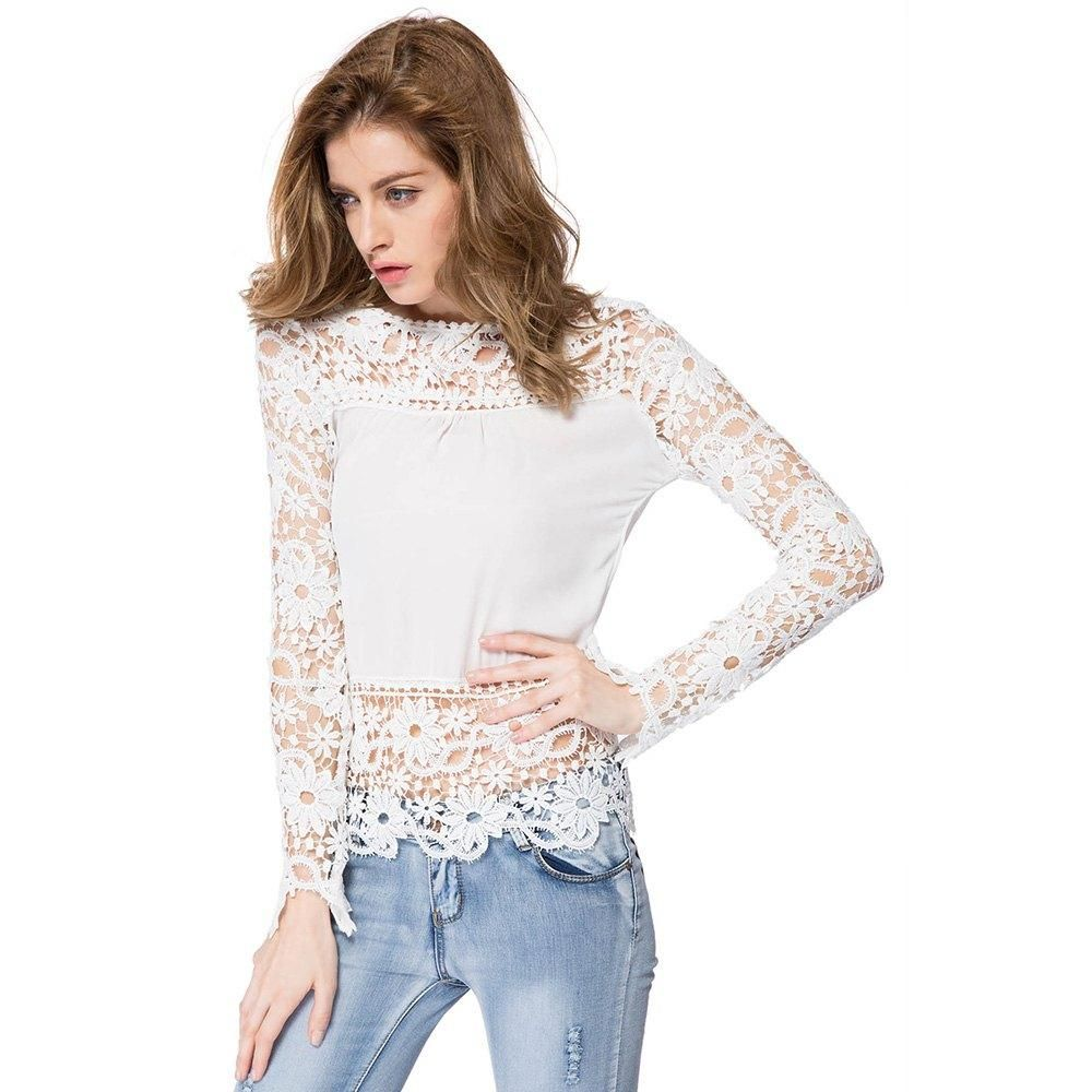 $13.75  73% OFF! Stylish Round Neck Long Sleeve Spliced Hollow Out Women's Blouse