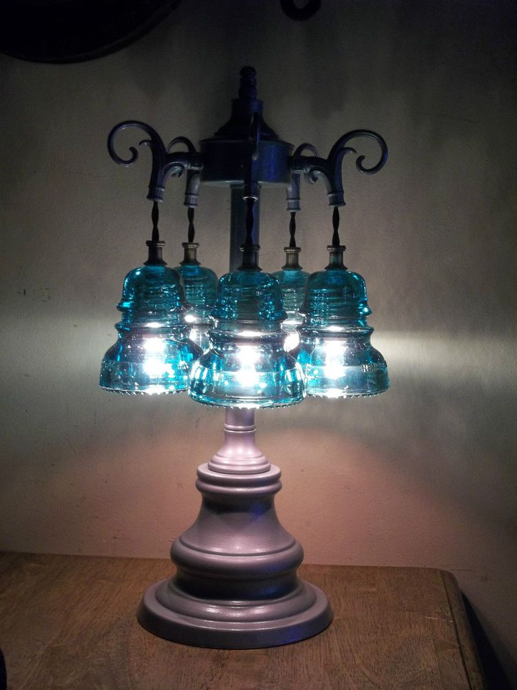 Antique Glass Art Orig Telegraph Glass Insulator Table Lamp 5 Green Insulators Products I Love