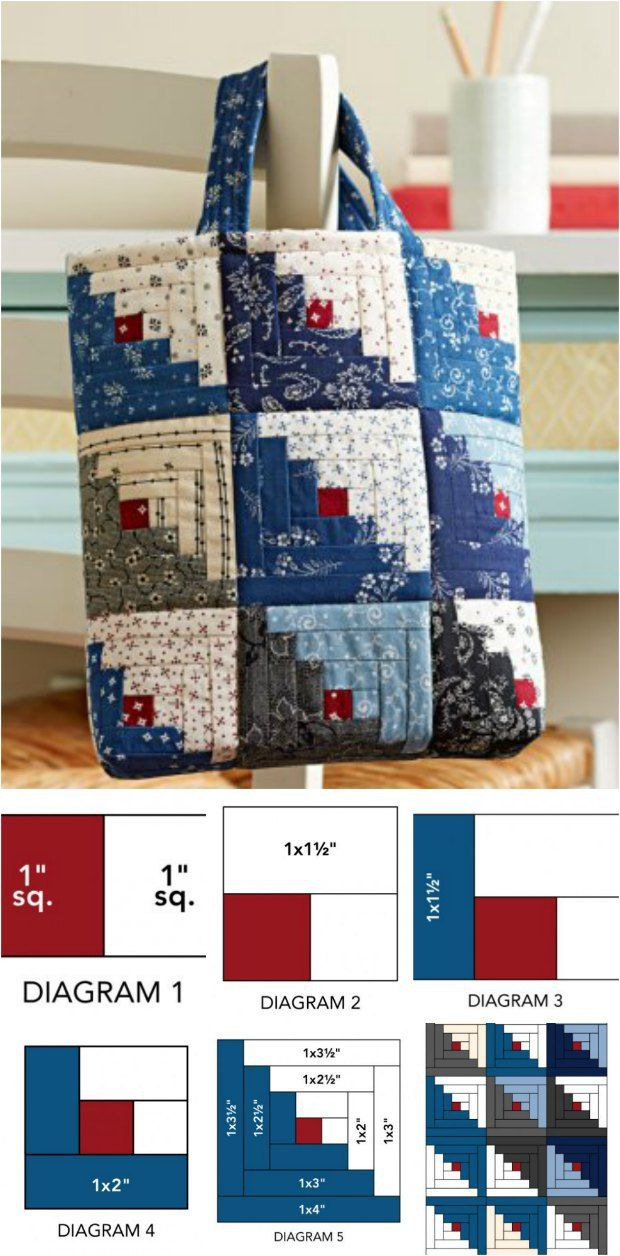 Mini log cabin bag | Patchwork | Sacs en patchwork, Sacs
