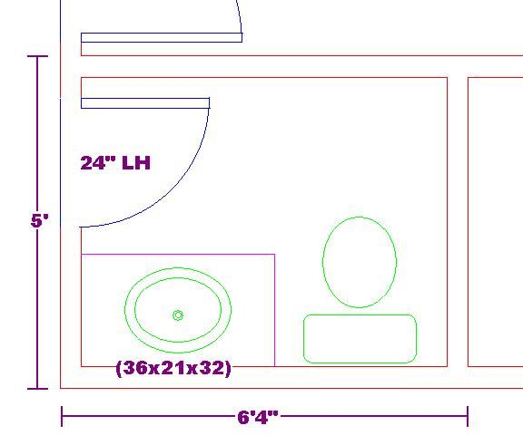 Tiny 5x6 bathroom floor plan with 3 foot vanity cabinet for Bathroom designs 5 x 6