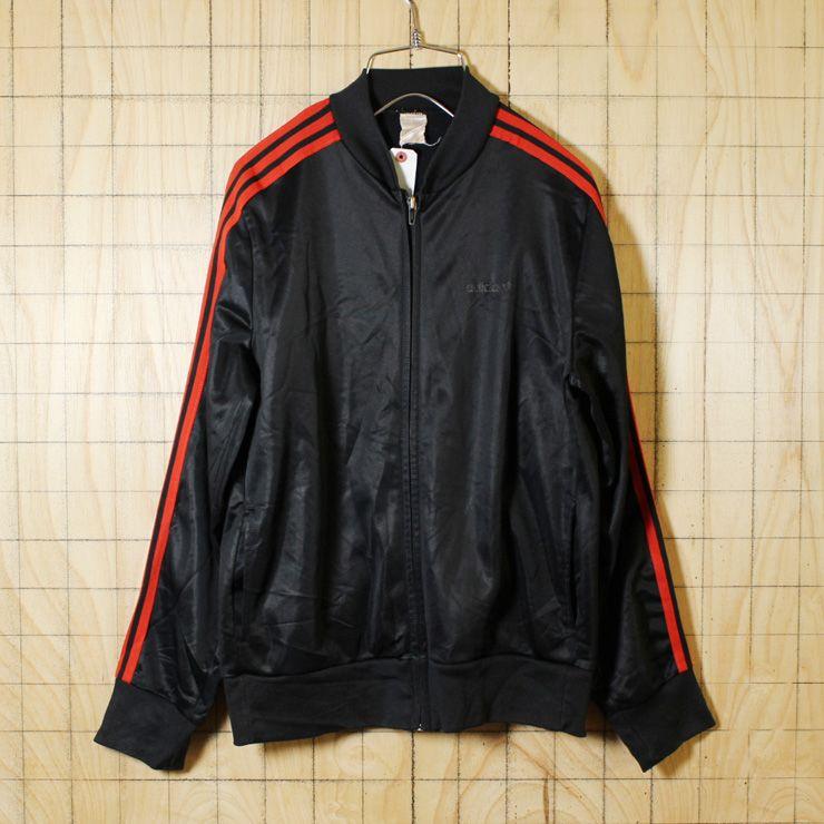 Adidas Ventex Euroビンテージ80s古着 ブラック レッド ジャージ