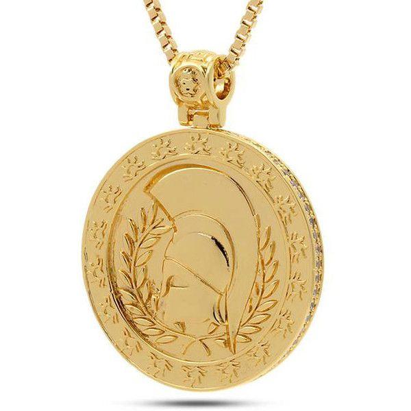 dfea3aaa90192 King Ice 14K Gold Spartan Medallion Necklace ($70) ❤ liked on ...