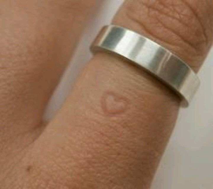 Wedding ring leaves a heart imprint on your finger the longer you