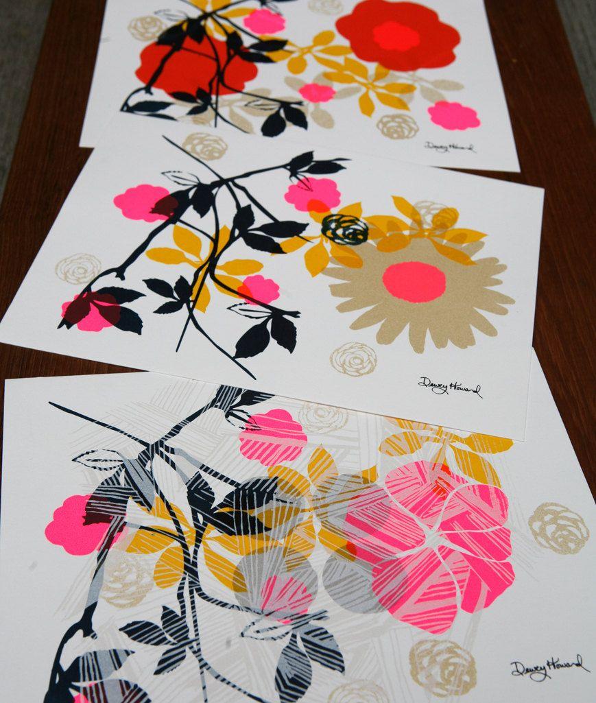 Fine Art Print Floral Silk Screen Wall Art Etsy Silk Screen Printing Patterns Screen Printing Silk Screen Printing