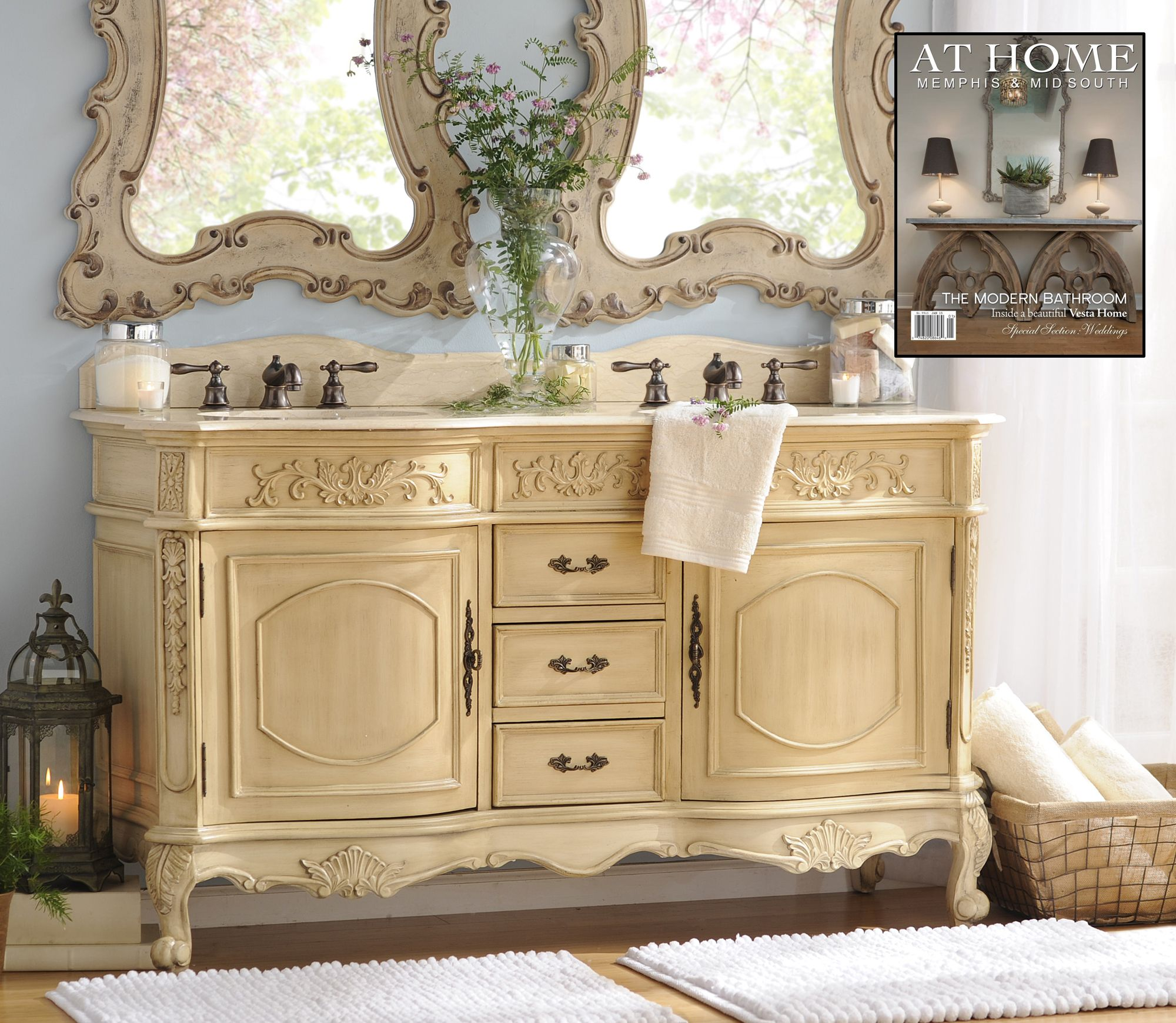 Our Ivory Sinclair Double Vanity Sink was featured in At Home Memphis & Mid South's January 2015 issue! This addition will really bring charm and elegance to your bathroom.