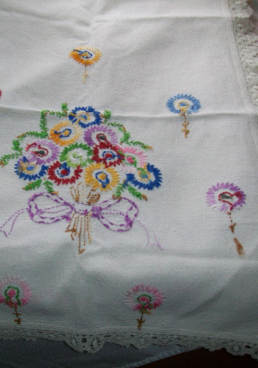 Vintage linen embroidered table dresser runner 18 x 48 flower design lace edging by NewtoUVintage on Etsy