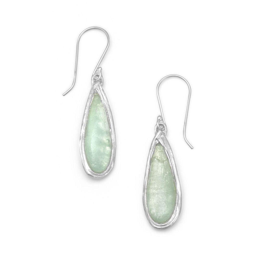 Ancient Roman Glass Pear Drop Earrings