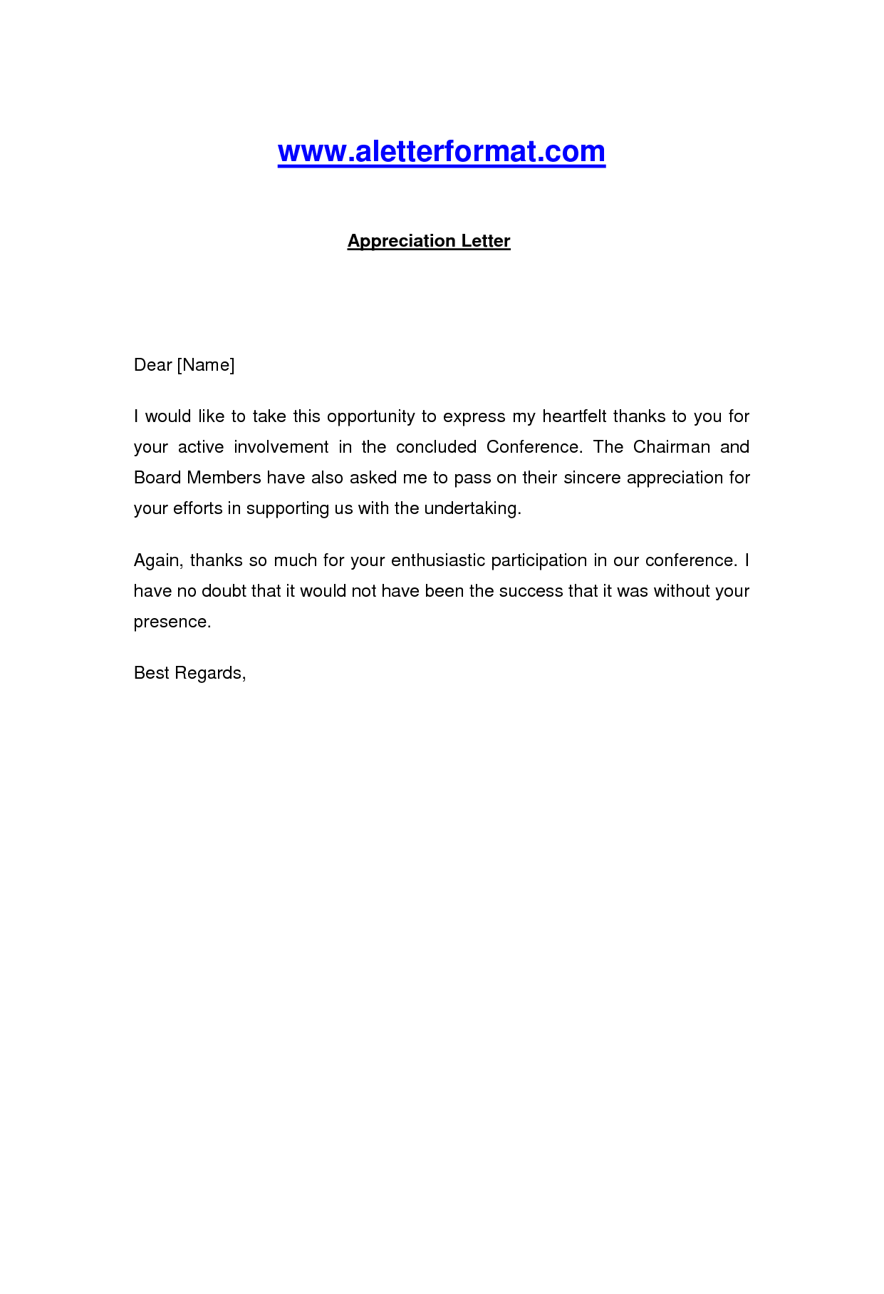 Appreciation Letter  Appreciation Letter For Active Involvement