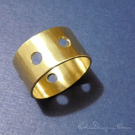 Handmade Hammered Wide Band Brass Ring with Holes, Size 8 by Che4uDesigns, $44.00