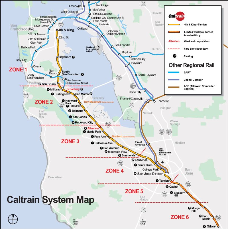 San Jose Subway Map.Capitol Corridor Fares Guide To Ride Caltrain Caltrain System