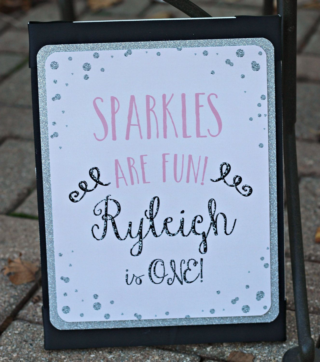 "1st Birthday Girl New Years Party 8x10 Sign.  ""Sparkles Are Fun, Baby is One""  Physical Product.  Pink, Silver Glitter, black.  Any Age. by CharmingTouchParties on Etsy"