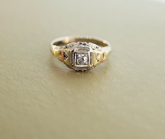 Antique Engagement Ring - 14k Yellow, White, and Rose Gold Ring