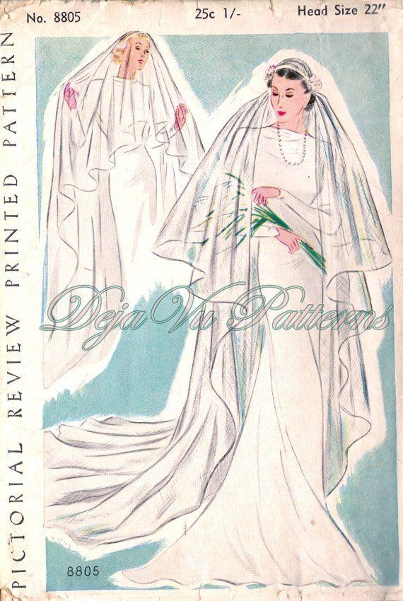 Pictoral Review 8805 Gorgeous Vintage 1930s Bridal Veil Sewing Pattern by DejaVuPatterns
