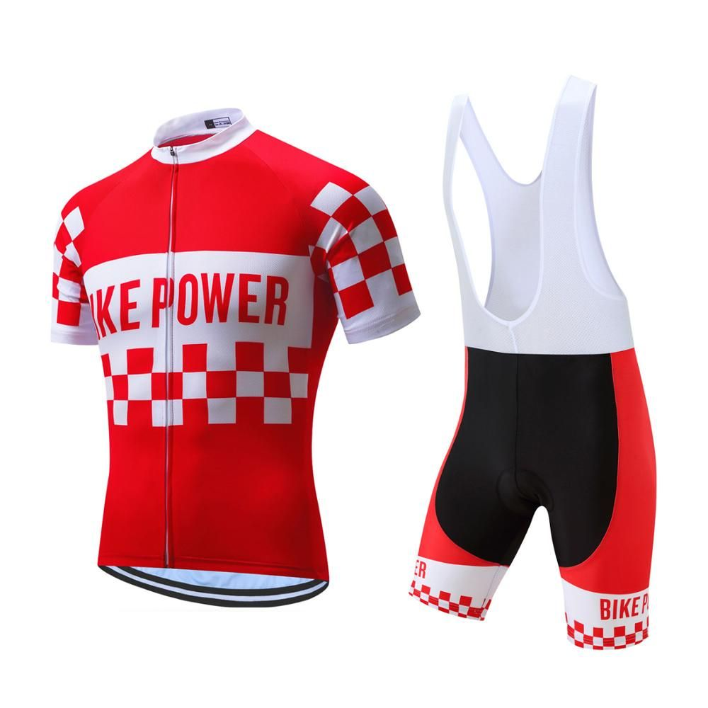 Red Bike Power Sports Cycling Jersey Design Breathable Cycling