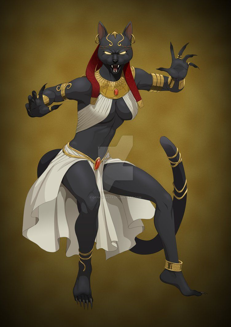 Egyptian Anubis And Lioness Fantasy Art