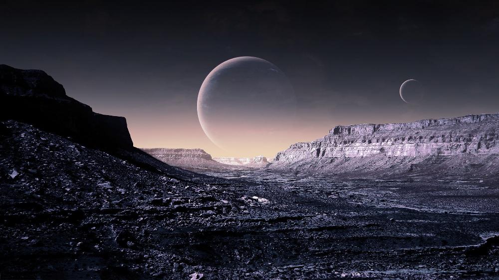 幻想未来派的行星表面spacescape 雾里 采集到科技背景 1图 花瓣 Dark Planet Planets Wallpaper Alien Worlds