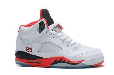 Air Jordan 5 Retro White-Fire Red-Black Women