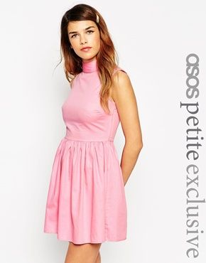 d24ebb43d2 ASOS PETITE Exclusive Cotton Skater Dress with High Neck and Button Back