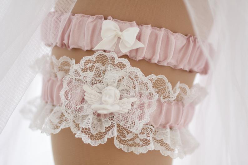 Pink Ribbon Ivory Lace Bridal Wedding Garter Toss Set