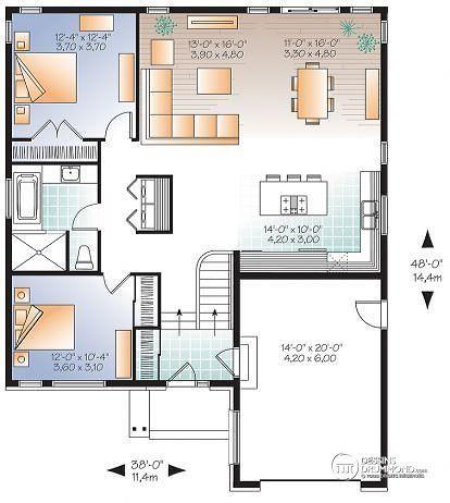 W3281 - Maison contemporaine split-level, à aire ouverte, 2 chambres - plan maison une chambre