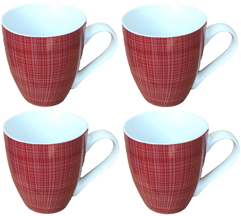 Sketch Set of 4 Mugs Porcelain Extra Large Coffee Soup Hot