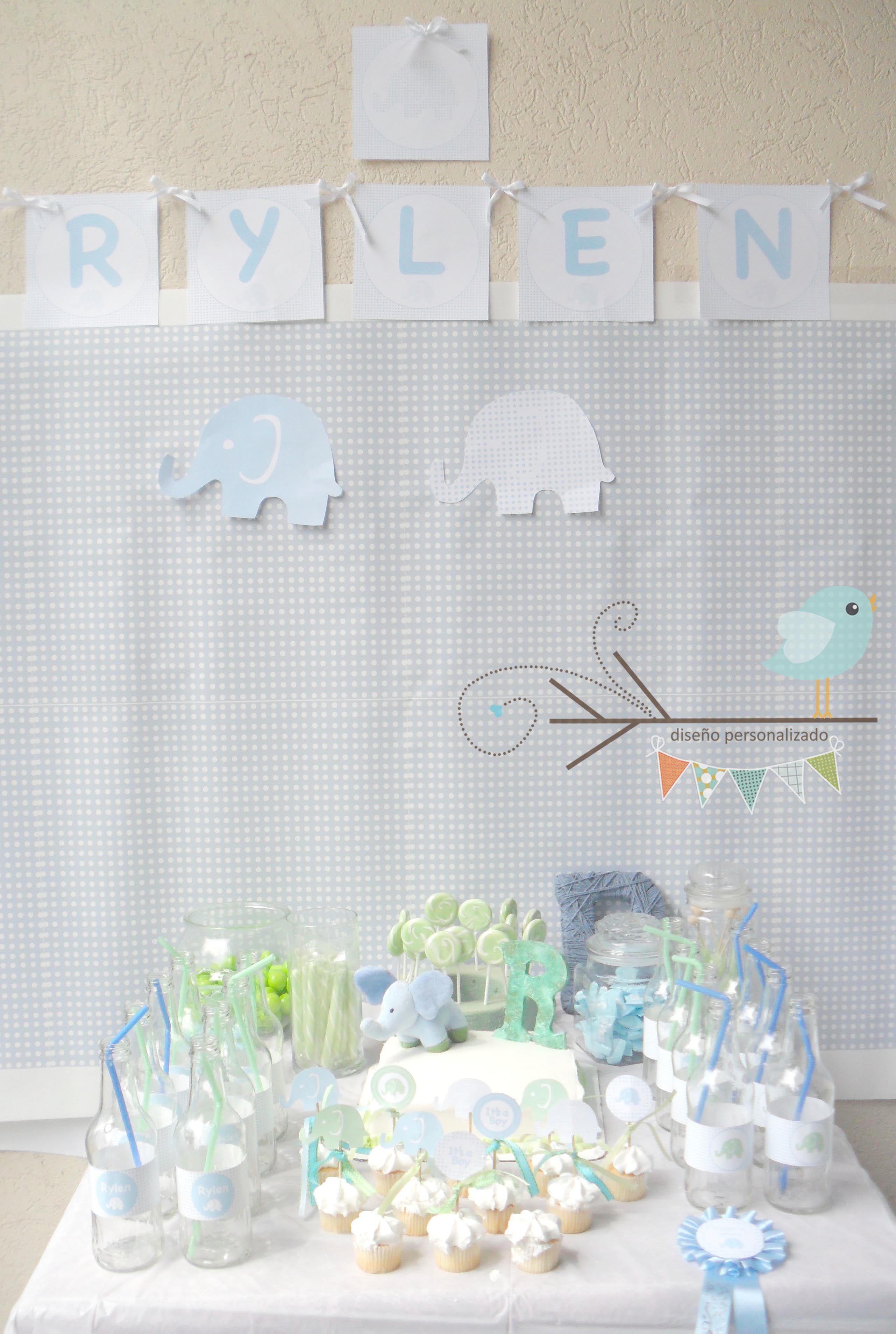 Candy Bar Baby Shower Blue Elephant Theme
