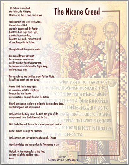 Prayers - The Nicene Creed (PDF) | FREE Ship $49 | Catholic Prayers