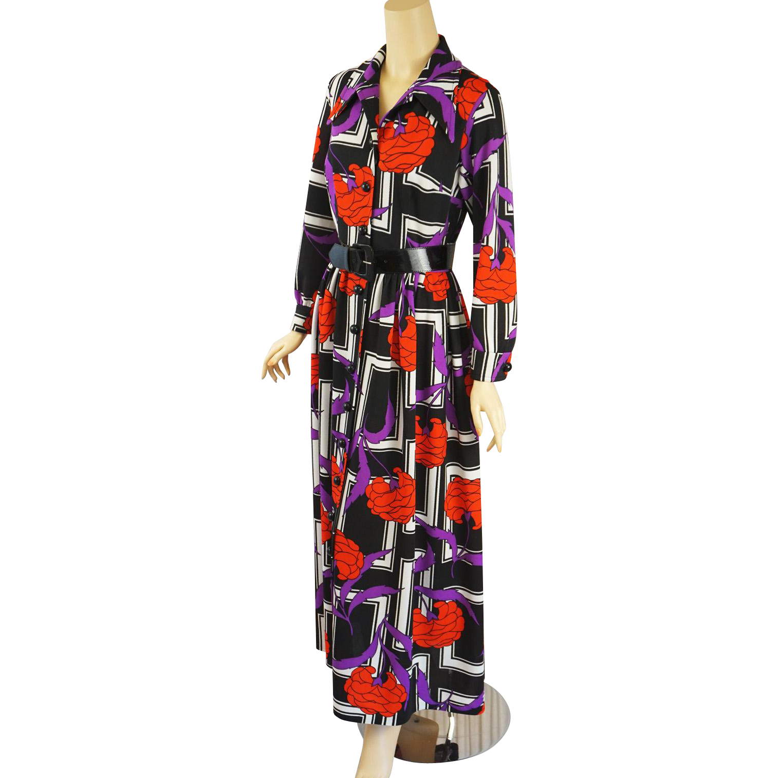 Vintage s boho maxi dress op art floral design by country miss