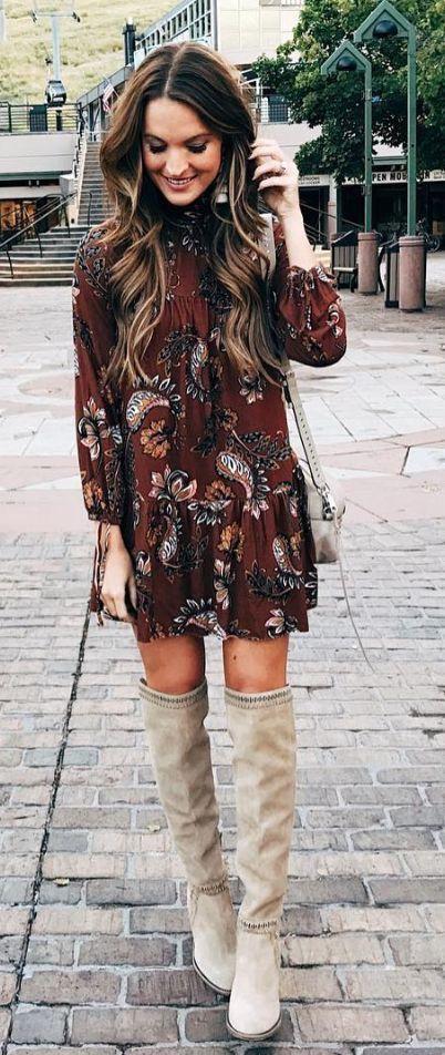 fb918e2c234 Cute burgundy print dress with taupe OTK boots.