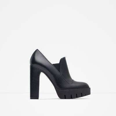 ZARA - 女士 - 鋸齒鞋底高跟皮及踝靴