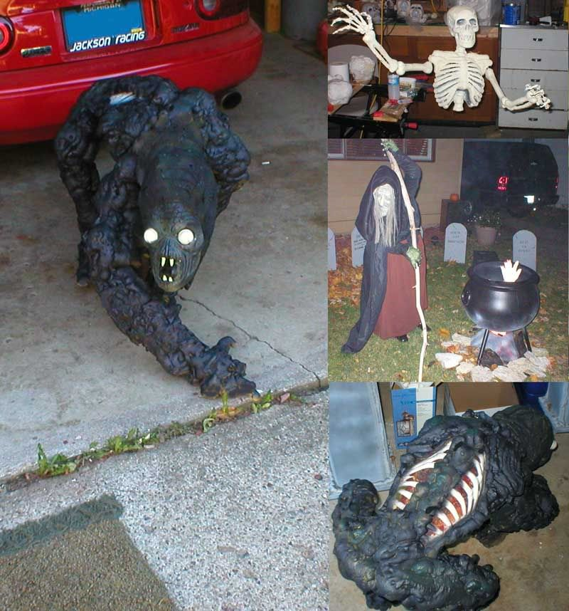 creature made from a blucky skeleton and great stuff spray foam - Halloween Foam