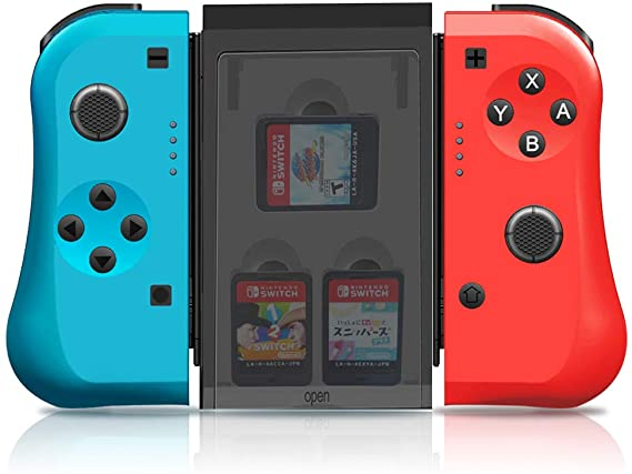 Amazon Com Maxku Joycon Controller Replacement For Nintendo Switch Joycon Pad L R With 3 Storage Slots Comfort Gr Wireless Switch Nintendo Switch Red And Blue