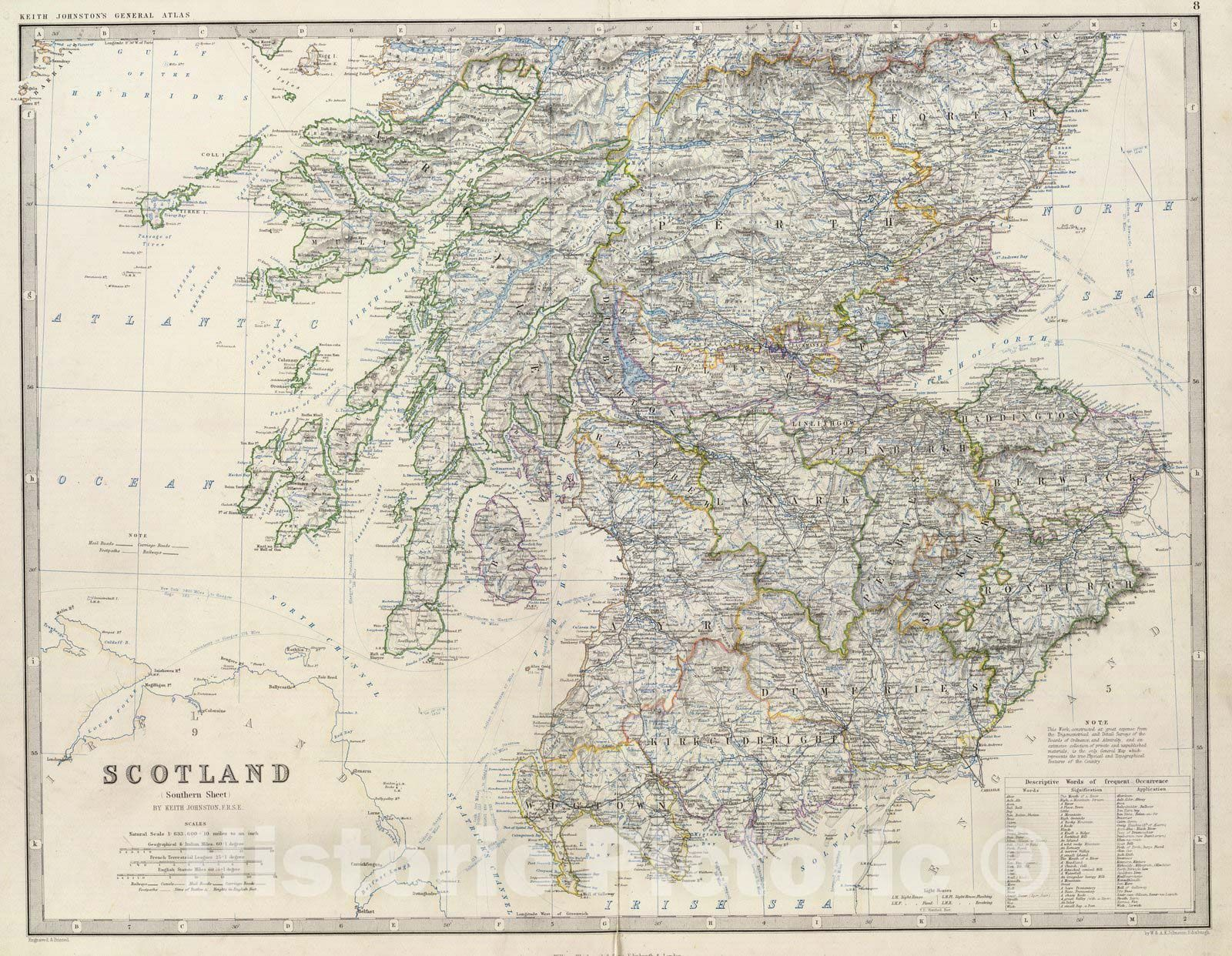 <p>Scotland, southern sheet, by Keith Johnston, F.R.S.E. Engraved & printed by W. & A.K. Johnston, Edinburgh. William Blackwood & Sons, Edinburgh & London, (1861) | The royal atlas of modern geography, exhibiting, in a series of entirely original and authentic maps, the present condition of geographical discovery and research in the several countries, empires, and states of the world by Alexander Keith Johnston ... With a special index to each map. William Blackwood and Sons, Edi