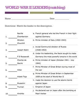 WORLD WAR II LEADERS (matching quiz) in 2019 | Curtis Sensei
