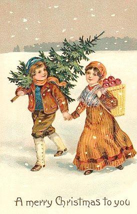 Vintage Christmas Card ~ Orange Accents | Cartes de noël vintage