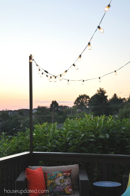 How to make a pole to add string lights to the deck! Back yard makeover Pinterest