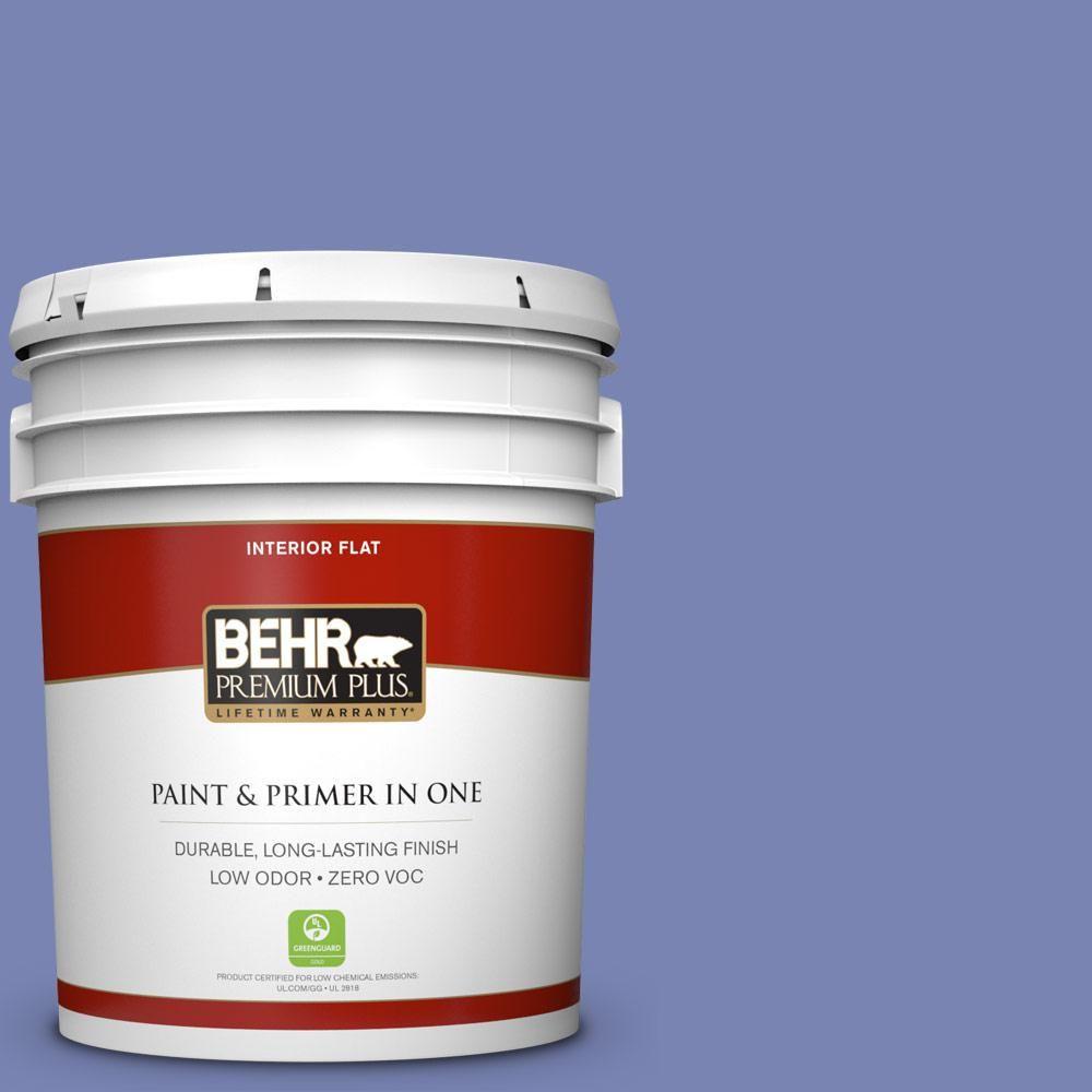 BEHR Premium Plus 5 gal. #610B-5 Corsican Purple Zero VOC Flat Interior Paint