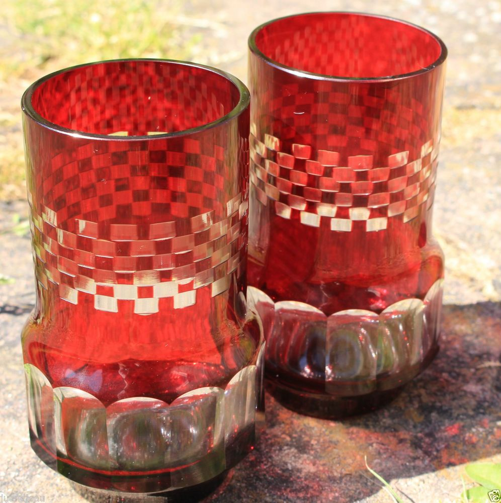 """Pair of Cut CRANBERRY GLASS 4"""" Tumblers, Beautiful Condition"""