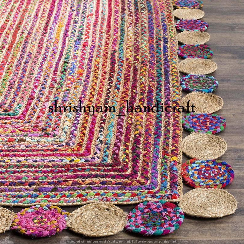 Bohemian Handmade Jute Cotton Mix Rug Braided Rag Rug Etsy In 2020 Braided Rag Rugs Braided Rug Diy Braided Area Rugs