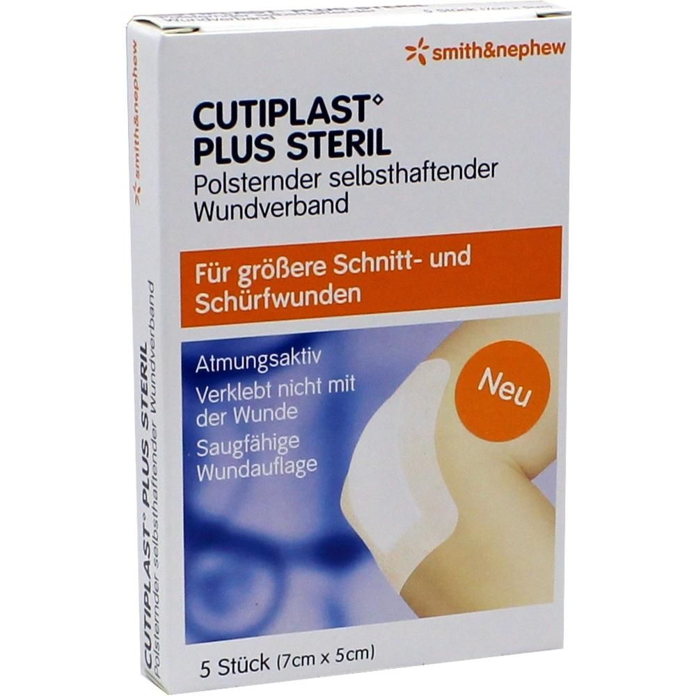 CUTIPLAST Plus steril 5x7 cm Verband:   Packungsinhalt: 5 St Verband PZN: 09732638 Hersteller: Smith & Nephew GmbH Preis: 2,83 EUR inkl.…